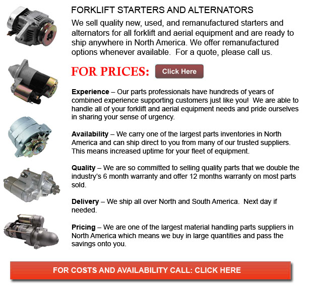 Forklift Alternators and Starters